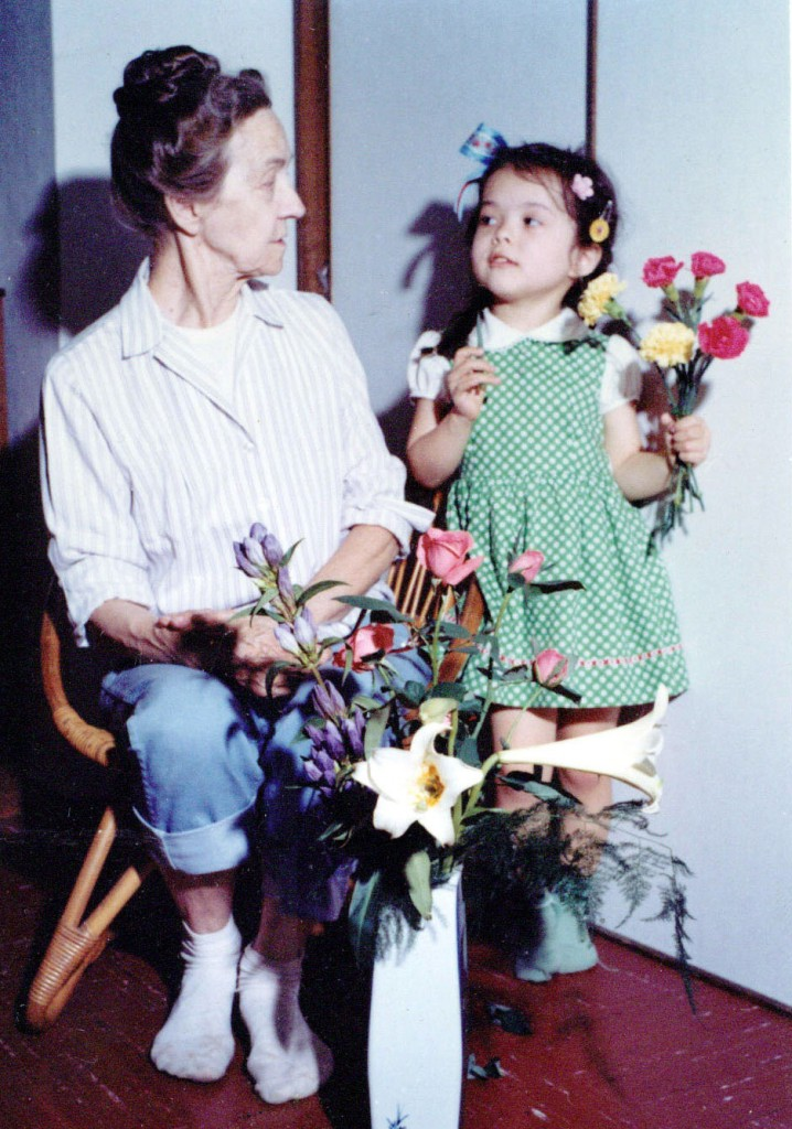 Midori as a young girl, with flowers